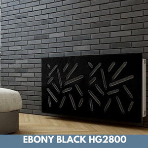 Modern Removable Radiator Cover with subtle STICKS Design HIGH GLOSS Finish & Colours-Ebony Black Gloss-70x70cm-Distinct Designs (London) Ltd