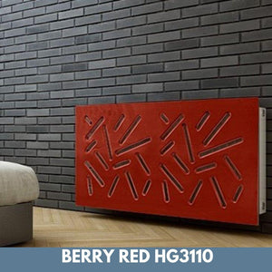Modern Removable Radiator Cover with subtle STICKS Design HIGH GLOSS Finish & Colours-Berry Red Gloss-70x70cm-Distinct Designs (London) Ltd