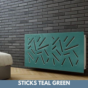 Modern Removable Radiator Cover with subtle STICKS Design in SATIN MATT Finish & Colours-Teal Green Satin-70x90cm-Distinct Designs (London) Ltd