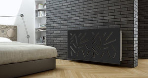 Modern Removable Radiator Cover with subtle STICKS Design in SATIN MATT Finish & Colours-Satin Ink Black-70x70cm-Distinct Designs (London) Ltd