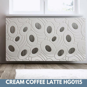 Sophisticated Removable Radiator Heater Cover with bold GALAXY Design HIGH GLOSS Finish & Colours-Coffee Latte Gloss-70x90cm-Distinct Designs (London) Ltd