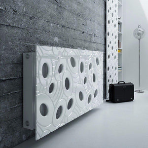 Sophisticated Removable Radiator Heater Cover with bold GALAXY Design HIGH GLOSS Finish & Colours-Pure White Gloss-70x70cm-Distinct Designs (London) Ltd