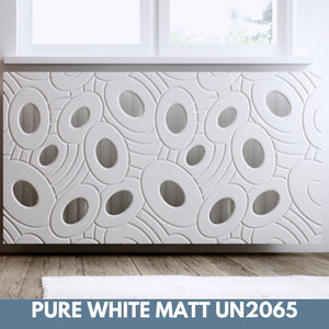 Sophisticated Removable Radiator Heater Cover with bold GALAXY Design in Satin MATT Finish & Colours-Pure White Matt-70x70cm-Distinct Designs (London) Ltd