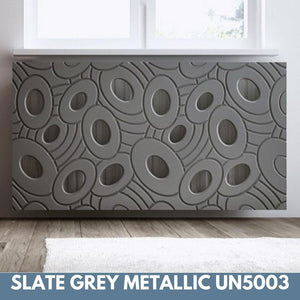 Sophisticated Removable Radiator Heater Cover with bold GALAXY Design in Satin MATT Finish & Colours-Slate Grey Metallic-70x90cm-Distinct Designs (London) Ltd