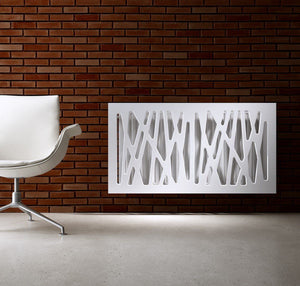 Stunning Removable Radiator Heater Cover with Futuristic GEO Design in HIGH GLOSS Finish & Colours-Pure White Gloss-70x70cm-Distinct Designs (London) Ltd