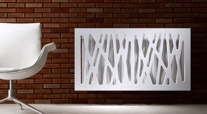 Stunning Radiator Heater Cover Futuristic GEO White 70 80 90 100 110 120 130 140 150 160 170 & 180cm-Distinct Designs (London) Ltd
