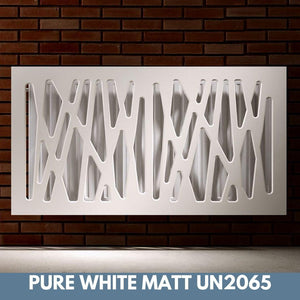 Stunning Removable Radiator Heater Cover with Futuristic GEO Design in SATIN MATT Finish & Colours-Pure White Matt-70x70cm-Distinct Designs (London) Ltd