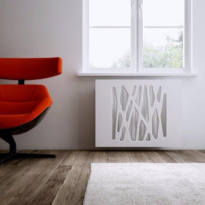 Stunning Radiator Heater Cover Futuristic GEO White 70 80 90 100 110 120 130 140 150 160 170 & 180cm-WHITE MATT-70x70cm-Distinct Designs (London) Ltd