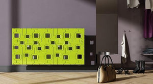 Bespoke Removable Radiator Heater Cover with geometric SATURN Design in HIGH GLOSS Finish & Colours-Lime Green Gloss-70x70cm-Distinct Designs (London) Ltd