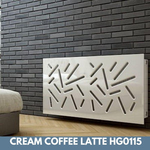 Modern Removable Radiator Cover with subtle STICKS Design HIGH GLOSS Finish & Colours-Coffee Latte Gloss-70x70cm-Distinct Designs (London) Ltd