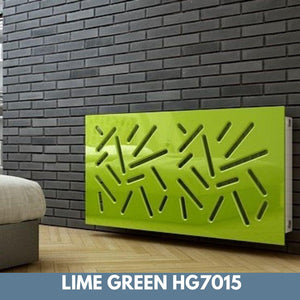Modern Removable Radiator Cover with subtle STICKS Design HIGH GLOSS Finish & Colours-Lime Green Gloss-70x70cm-Distinct Designs (London) Ltd