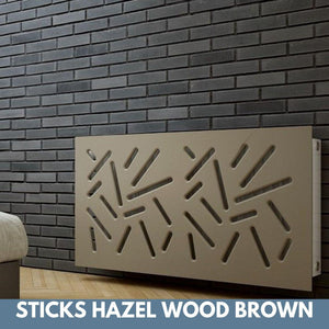 Modern Removable Radiator Cover with subtle STICKS Design in SATIN MATT Finish & Colours-Hazel Wood Brown-70x90cm-Distinct Designs (London) Ltd