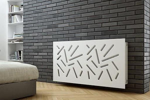 SALE Custom-Made Removable Radiator Cover with Modern STICKS Design-70x90cm-Pure White Matt-Distinct Designs (London) Ltd