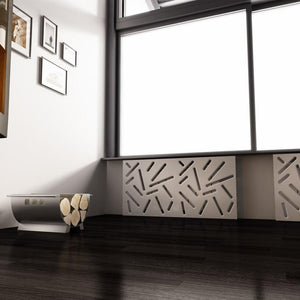 SALE Custom-Made Removable Radiator Cover with Modern STICKS Design-70x140cm-Pure White Matt-Distinct Designs (London) Ltd