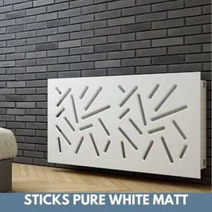 Modern Removable Radiator Cover with subtle STICKS Design in SATIN MATT Finish & Colours-Pure White Matt-70x70cm-Distinct Designs (London) Ltd