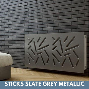 Modern Removable Radiator Cover with subtle STICKS Design in SATIN MATT Finish & Colours-Slate Grey Metallic-70x90cm-Distinct Designs (London) Ltd