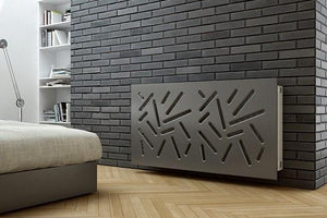 SALE Custom-Made Removable Radiator Cover with Modern STICKS Design-70x90cm-Slate Grey Metallic-Distinct Designs (London) Ltd