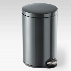 Round Pedal Waste Rubbish Bin with Smooth Silent Close Lid 5L,12L or 20L in Powder Coated Metal-20L-Distinct Designs (London) Ltd