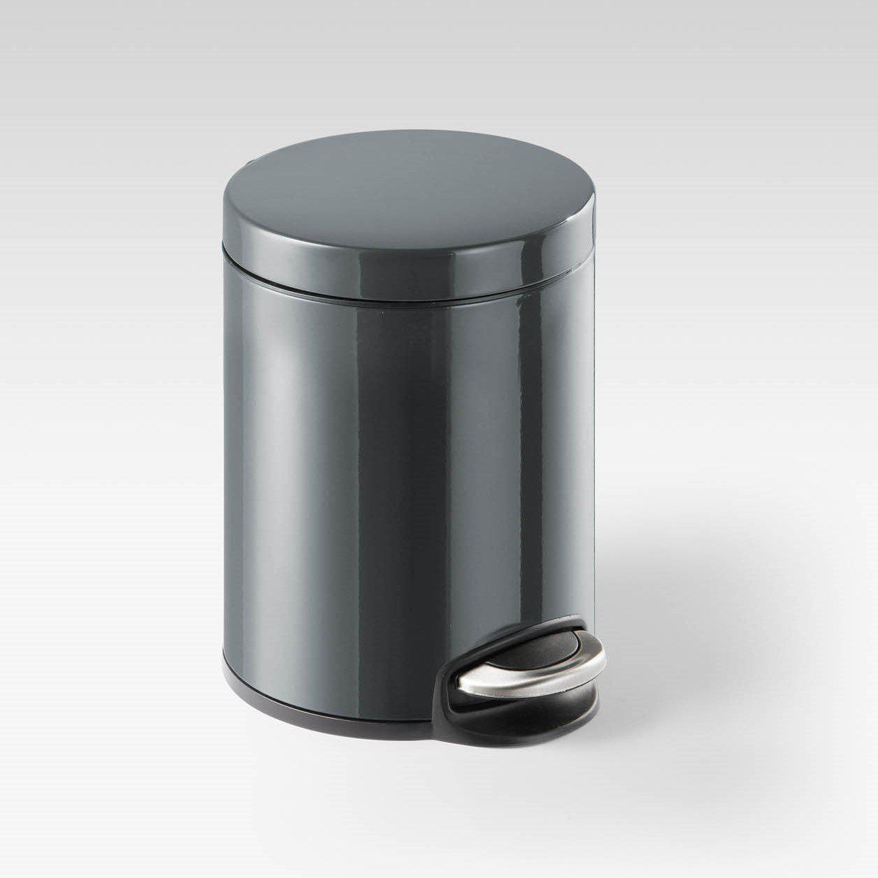 Round Pedal Waste Rubbish Bin with Smooth Silent Close Lid 5L,12L or 20L in Powder Coated Metal-5L-Distinct Designs (London) Ltd
