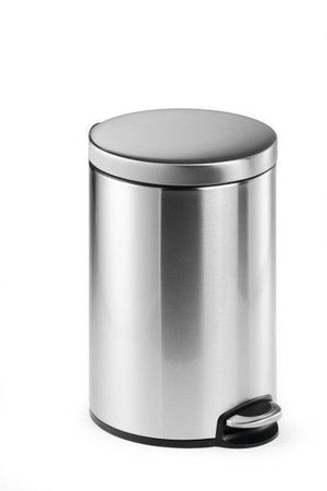 Round Pedal Waste Rubbish Bin with Smooth Silent Close Lid 5L,12L or 20L in coated Stainless Steel-12L-Distinct Designs (London) Ltd