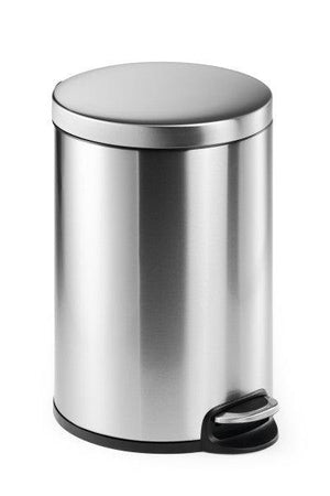 Round Pedal Waste Rubbish Bin with Smooth Silent Close Lid 5L,12L or 20L in coated Stainless Steel-20L-Distinct Designs (London) Ltd