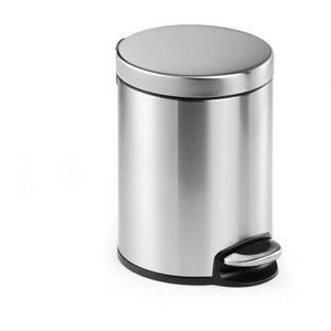 Round Pedal Waste Rubbish Bin with Smooth Silent Close Lid 5L,12L or 20L in coated Stainless Steel-5L-Distinct Designs (London) Ltd
