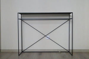 Bespoke Metal Narrow Console Dressing Hall Table 100x80x27cm (LxHxD) in Black-Crossbraced-Distinct Designs (London) Ltd