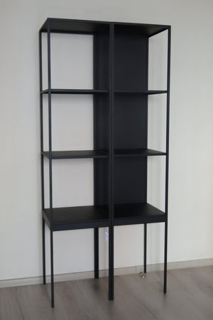 Bespoke Metal Display Cabinet Book Case Shelving Unit 40x180x40cm (LxHxD) in Black-Distinct Designs (London) Ltd