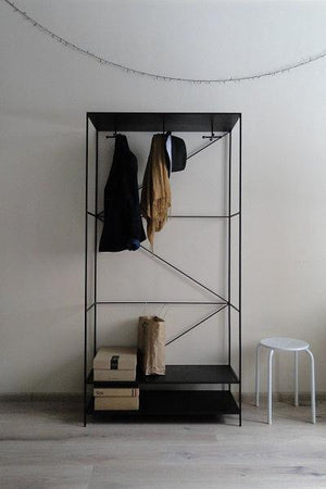 Bespoke Metal Entry Hall Hanger Rack Unit with Two Shelves 90x180x36cm (LxHxD) in Black-Distinct Designs (London) Ltd