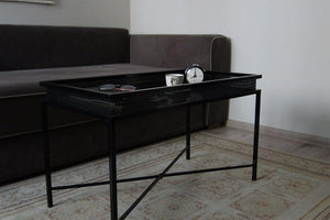 Bespoke Metal Coffee Table 82x41x47cm (LxHxD) in Black-Crossbraced-Distinct Designs (London) Ltd