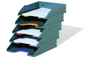Stackable Grey Letter Trays with Stylish Coloured Contours for Home Office Study-Multicolour-Distinct Designs (London) Ltd