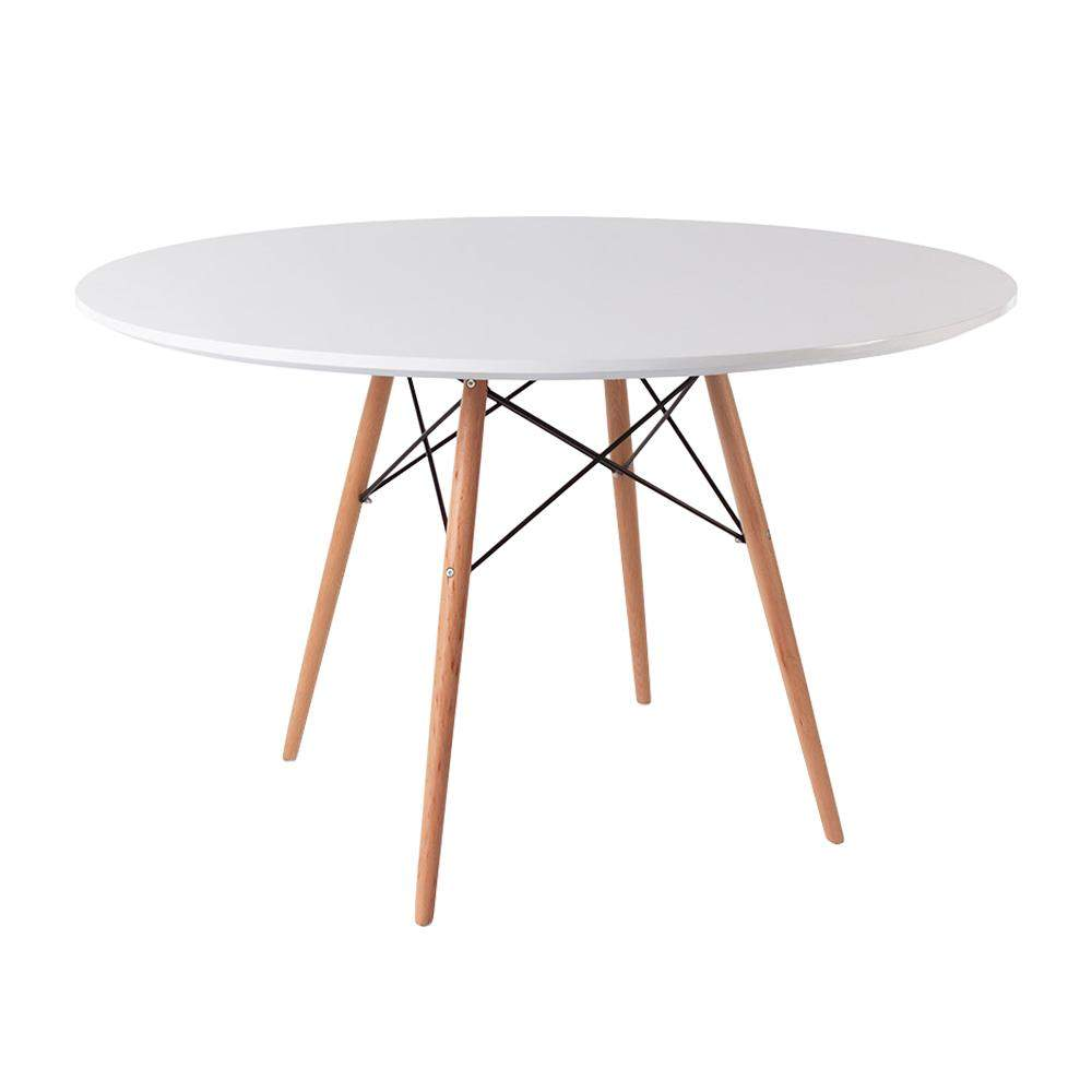 Classic Mid-Century Design Dining Office White Round 120cm Diameter Dining Table with Wooden Legs-Natural Beach-Distinct Designs (London) Ltd