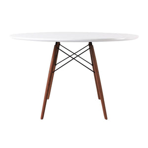 Classic Mid-Century Design Dining Office White Round 120cm Diameter Dining Table with Wooden Legs-Distinct Designs (London) Ltd