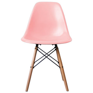Classic Mid-Century Design Dining Office Light Pastel Pink Chair with braced Wooden Legs-Natural Beach-Distinct Designs (London) Ltd
