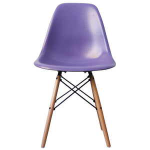 Classic Mid-Century Design Dining Office Iris Purple Chair with braced Wooden Legs-Natural Beach-Distinct Designs (London) Ltd