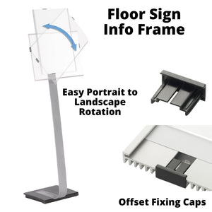Floor Standing Aluminium Info Sign Holder with Acrylic Panel Display Holder for PPE social distancing Posters-Distinct Designs (London) Ltd