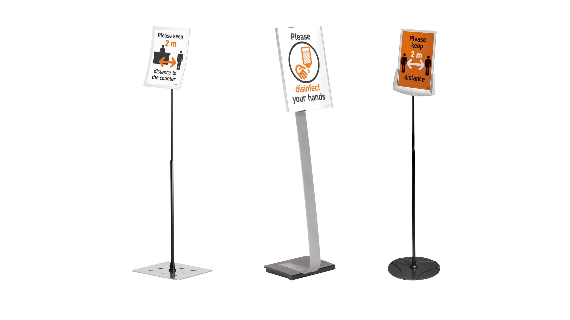 FloorStanding Display Stand easy-access A4 Magnetic info Holder Hygiene PPE social distancing Poster-Distinct Designs (London) Ltd