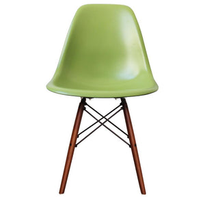 Classic Mid-Century Design Dining Office Forest Green Chair with braced Wooden Legs-Walnut-Distinct Designs (London) Ltd