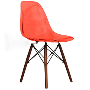 Classic Mid-Century Design Dining Office Transparent Red Chair with braced Wooden Legs-Distinct Designs (London) Ltd