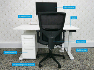 Home Working Workstation Bundle with Desk Monitor Arm Office Chair Pedestal & Cable Management-Distinct Designs (London) Ltd