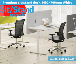 Home Working Workstation Bundle with Desk Monitor Arm Office Chair Pedestal & Cable Management-Upgrade Bundle-Distinct Designs (London) Ltd