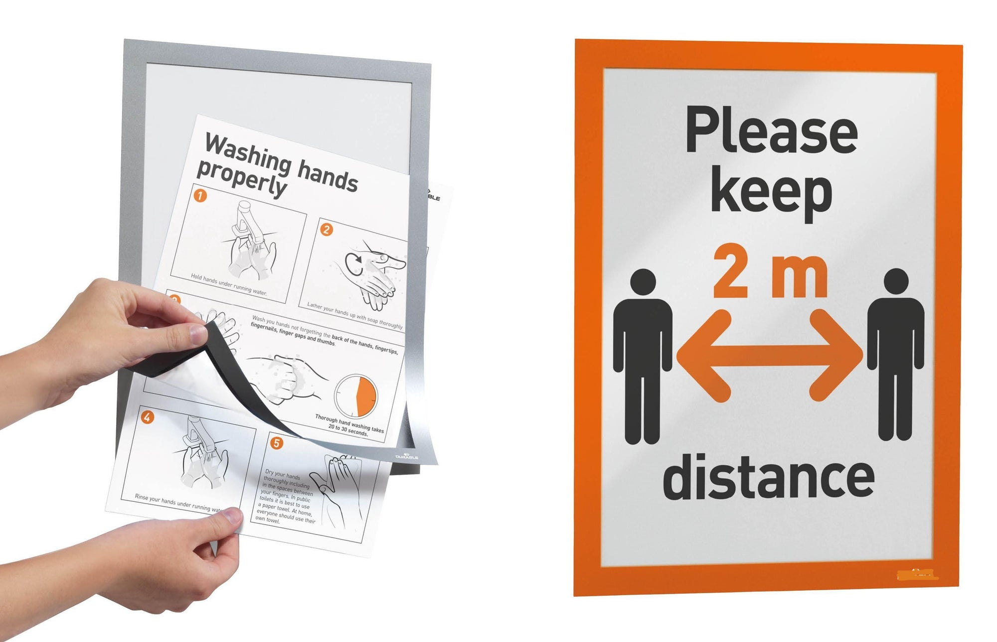 Versatile two-part A4 Display Frame with Self-Adhesive back and Magnetic flip-up front pack of 2-Distinct Designs (London) Ltd