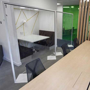 Large Floor Standing Clear Infection Barrier Screen Seethrough 2-meter-high Protection Divider Panel-Distinct Designs (London) Ltd