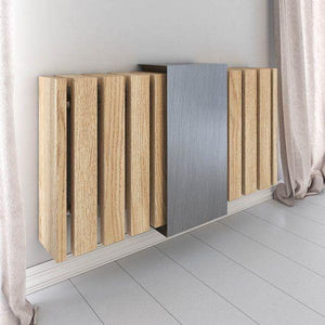 Luxury Floating Radiator Heater Cover Band over Slats Cabinet Design with integrated top shelf up to 140cm long RCLL139-72cm-90cm-Distinct Designs (London) Ltd