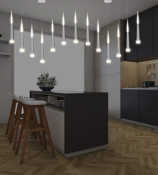 3 Modern Glass & Metal Pendant LED Light Hanglamps with slim 45cm long cone design-3 Individual Lights-Distinct Designs (London) Ltd