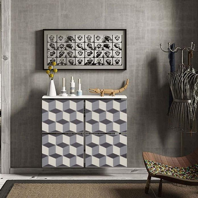 Modern Floating Radiator Heater Cover 3D Cube PATTERN Design Cabinet 40-115 high & 40-180cm long-75cm-40cm-Distinct Designs (London) Ltd