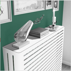 Modern Floating Radiator Heater Cover NORDIC STRIPE Metal Cabinet design flush top Ref RCNR230A-Distinct Designs (London) Ltd