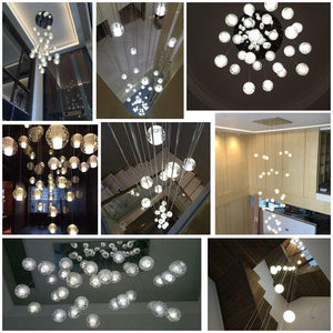 Modern Crystal Glass Bubble Globe 10cm Pendant G4 LED Ceiling Light 1, 3, 5, 7, 14, 26,36 Lamp Heads-Distinct Designs (London) Ltd
