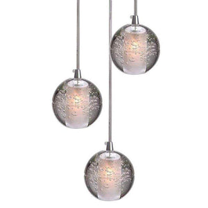 Modern Crystal Glass Bubble Globe 10cm Pendant G4 LED Ceiling Light 1, 3, 5, 7, 14, 26,36 Lamp Heads-3 Lamp Heads-Distinct Designs (London) Ltd