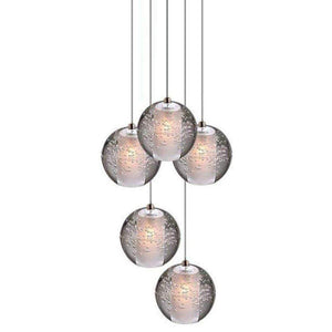 Modern Crystal Glass Bubble Globe 10cm Pendant G4 LED Ceiling Light 1, 3, 5, 7, 14, 26,36 Lamp Heads-5 Lamp Heads-Distinct Designs (London) Ltd